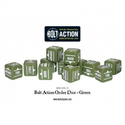 BOLT ACTION ORDERS DICE - GREEN (12)